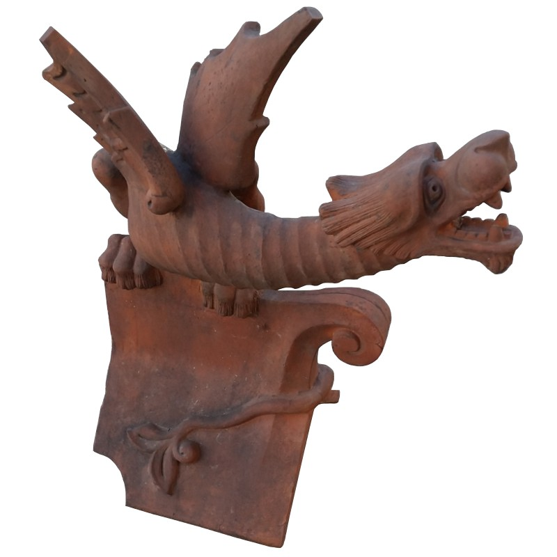 Reclaimed Original Clay Dragon Finial