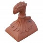 Half round curved leaf block end finial