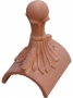 Ball 4 leaf finial half round ridge