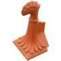 Block end curved leaf crest finial