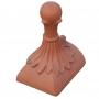 Half round 4 leaf ball block end finial
