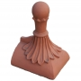 Half round 8 leaf ball block end finial
