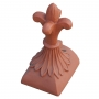 Half round old fleur block end finial