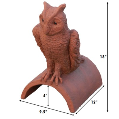 owl roof finial with glass eyes measurements